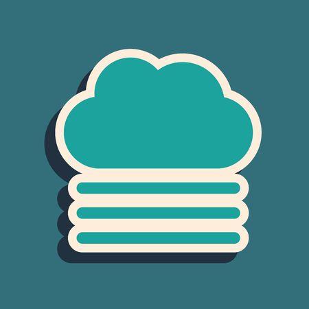 Green Fog and cloud icon isolated on blue background. Long shadow style. Vector Illustration Illusztráció