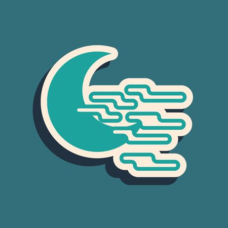 Green Fog and moon icon isolated on blue background. Long shadow style. Vector Illustration