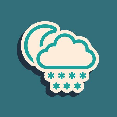 Green Cloud with snow and moon icon isolated on blue background. Cloud with snowflakes. Single weather icon. Snowing sign. Long shadow style. Vector Illustration