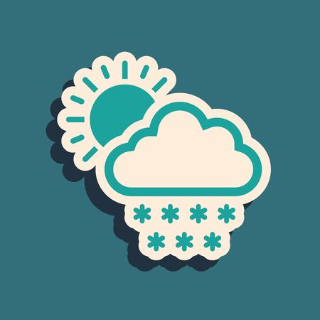 Green Cloud with snow and sun icon isolated on blue background. Cloud with snowflakes. Single weather icon. Snowing sign. Long shadow style. Vector Illustration Illustration