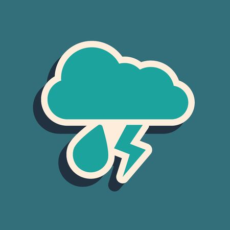 Green Cloud with rain and lightning icon isolated on blue background. Rain cloud precipitation with rain drops.Weather icon of storm. Long shadow style. Vector Illustration
