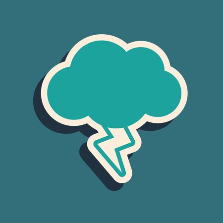 Green Storm icon isolated on blue background. Cloud and lightning sign. Weather icon of storm. Long shadow style. Vector Illustration Ilustração