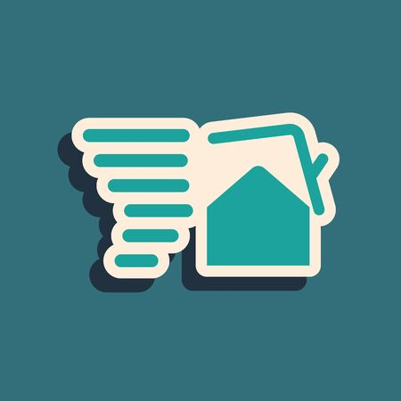 Green Tornado swirl damages house roof icon isolated on blue background. Cyclone, whirlwind, storm funnel, hurricane wind icon. Long shadow style. Vector Illustration