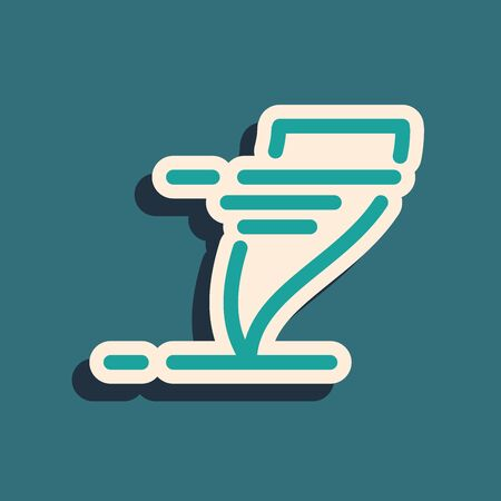 Green Tornado icon isolated on blue background. Cyclone, whirlwind, storm funnel, hurricane wind or twister weather icon. Long shadow style. Vector Illustration Illusztráció