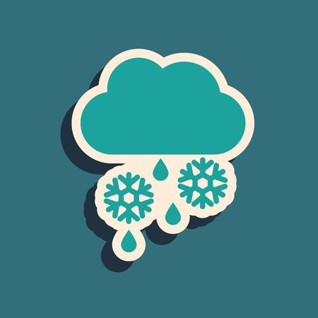 Green Cloud with snow, rain and moon icon isolated on blue background. Weather icon. Long shadow style. Vector Illustration