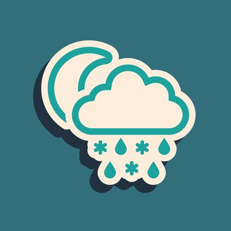 Green Cloud with snow and rain icon isolated on blue background. Weather icon. Long shadow style. Vector Illustration