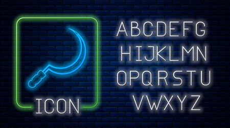 Glowing neon Sickle icon isolated on brick wall background. Reaping hook sign. Neon light alphabet. Vector Illustration