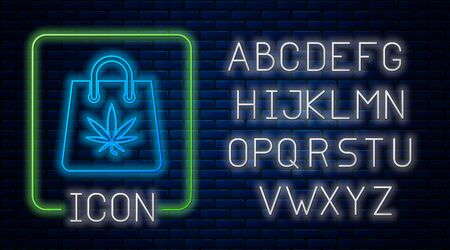 Glowing neon Shopping paper bag of medical marijuana or cannabis leaf icon isolated on brick wall background. Buying cannabis. Hemp symbol. Neon light alphabet. Vector Illustration Stock Vector - 131785148