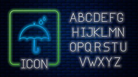 Glowing neon Umbrella and rain drops icon isolated on brick wall background. Waterproof icon. Protection, safety, security concept. Water resistant symbol. Neon light alphabet. Vector Illustration