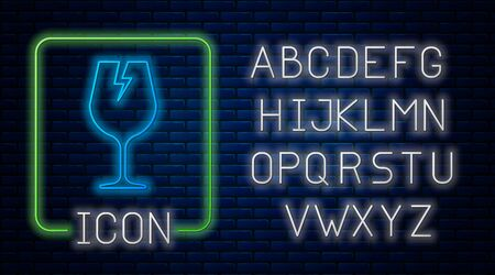 Glowing neon Fragile broken glass symbol for delivery boxes icon isolated on brick wall background. Neon light alphabet. Vector Illustration