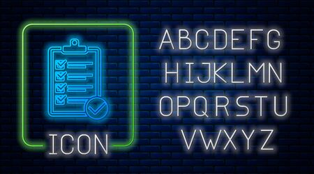Glowing neon Verification of delivery list clipboard and pen icon isolated on brick wall background. Neon light alphabet. Vector Illustration