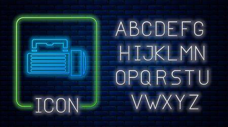 Glowing neon Flashlight icon isolated on brick wall background. Tourist flashlight handle. Neon light alphabet. Vector Illustration