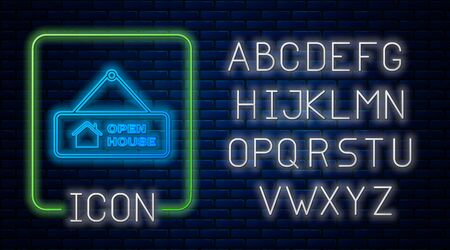 Glowing neon Hanging sign with text Open house icon isolated on brick wall background. Signboard with text Open house. Neon light alphabet. Vector Illustration Ilustração