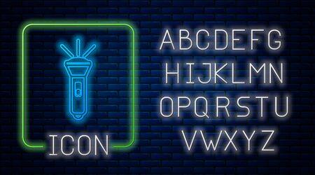 Glowing neon Flashlight icon isolated on brick wall background. Neon light alphabet. Vector Illustration