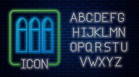 Glowing neon Bullet icon isolated on brick wall background. Neon light alphabet. Vector Illustration Illusztráció