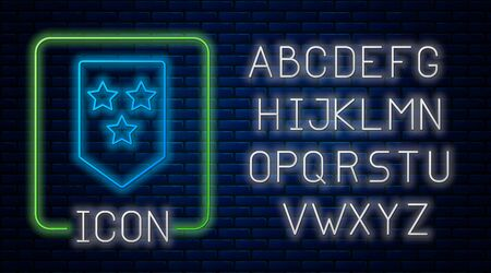 Glowing neon Chevron icon isolated on brick wall background. Military badge sign. Neon light alphabet. Vector Illustration