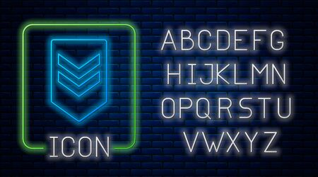 Glowing neon Chevron icon isolated on brick wall background. Military badge sign. Neon light alphabet. Vector Illustration Stok Fotoğraf - 131830081
