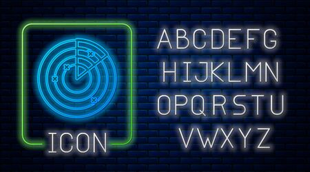 Glowing neon Radar with targets on monitor in searching icon isolated on brick wall background. Military search system. Navy sonar. Neon light alphabet. Vector Illustration Ilustrace