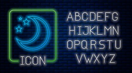 Glowing neon Moon and stars icon isolated on brick wall background. Neon light alphabet. Vector Illustration