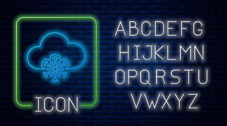 Glowing neon Cloud with snow icon isolated on brick wall background. Cloud with snowflakes. Single weather icon. Snowing sign. Neon light alphabet. Vector Illustration Stockfoto - 131833179