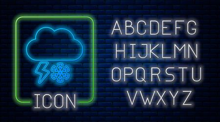 Glowing neon Cloud with snow and lightning icon isolated on brick wall background. Cloud with snowflakes. Single weather icon. Snowing sign. Neon light alphabet. Vector Illustration Stockfoto - 131833212