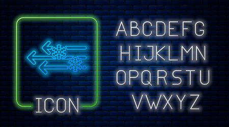 Glowing neon Wind and snow icon isolated on brick wall background. Windy weather. Neon light alphabet. Vector Illustration