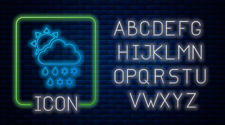 Glowing neon Cloud with snow and rain icon isolated on brick wall background. Weather icon. Neon light alphabet. Vector Illustration Ilustração