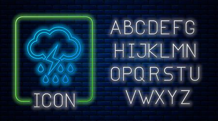 Glowing neon Cloud with rain and lightning icon isolated on brick wall background. Rain cloud precipitation with rain drops.Weather icon of storm. Neon light alphabet. Vector Illustration Ilustração