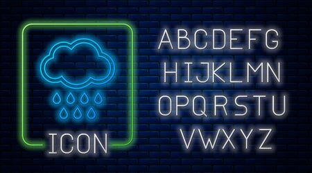 Glowing neon Cloud with rain icon isolated on brick wall background. Rain cloud precipitation with rain drops. Neon light alphabet. Vector Illustration
