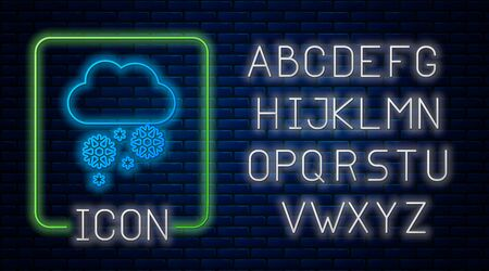 Glowing neon Cloud with snow icon isolated on brick wall background. Cloud with snowflakes. Single weather icon. Snowing sign. Neon light alphabet. Vector Illustration