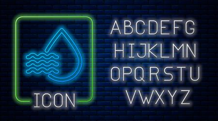Glowing neon Water drop percentage icon isolated on brick wall background. Humidity analysis. Neon light alphabet. Vector Illustration