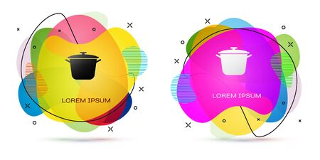 Color Cooking pot icon isolated on white background. Boil or stew food symbol. Abstract banner with liquid shapes. Vector Illustration