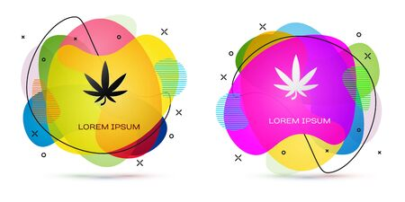 Color Medical marijuana or cannabis leaf icon isolated on white background. Hemp symbol. Abstract banner with liquid shapes. Vector Illustration