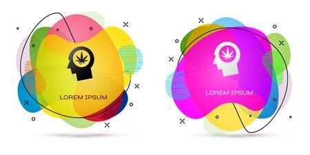 Color Silhouette of male head in profile with marijuana or cannabis leaf icon isolated on white background. Marijuana legalization. Hemp symbol. Abstract banner with liquid shapes. Vector Illustration Standard-Bild - 132102886