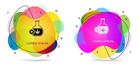 Color Chemical test tube with marijuana or cannabis leaf icon isolated on white background. Research concept. Laboratory CBD oil concept. Abstract banner with liquid shapes. Vector Illustration