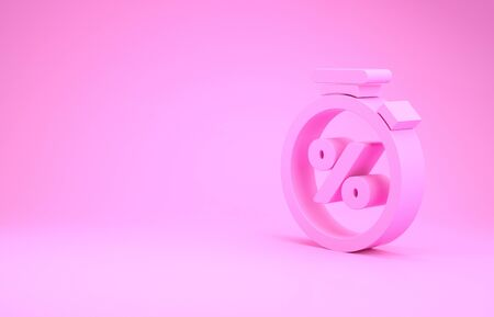 Pink Stopwatch and percent discount icon isolated on pink background. Time timer sign. Minimalism concept. 3d illustration 3D render Stok Fotoğraf