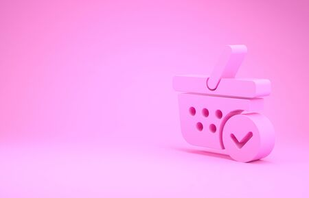 Pink Shopping basket with check mark icon isolated on pink background. Supermarket basket with approved, confirm, tick, completed symbol. Minimalism concept. 3d illustration 3D render