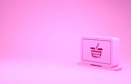 Pink Shopping basket on screen laptop icon isolated on pink background. Concept e-commerce, e-business, online business marketing. Minimalism concept. 3d illustration 3D render