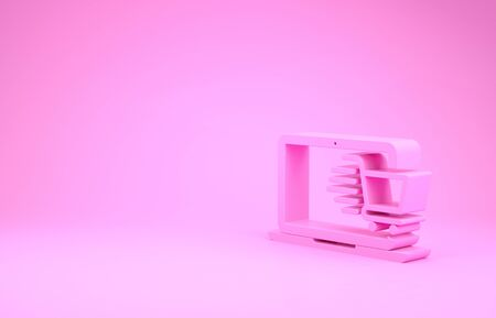 Pink Shopping cart on screen laptop icon isolated on pink background. Concept e-commerce, e-business, online business marketing. Minimalism concept. 3d illustration 3D render