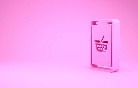 Pink Mobile phone and shopping basket icon isolated on pink background. Online buying symbol. Supermarket basket symbol. Minimalism concept. 3d illustration 3D render