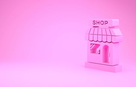 Pink Shopping building or market store icon isolated on pink background. Shop construction. Minimalism concept. 3d illustration 3D render Stock Illustration - 131991506