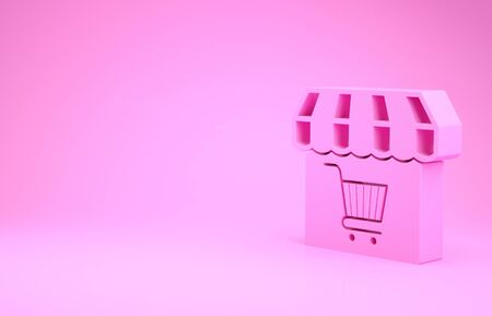 Pink Shopping building or market store with shopping cart icon isolated on pink background. Shop construction. Supermarket basket symbol. Minimalism concept. 3d illustration 3D render