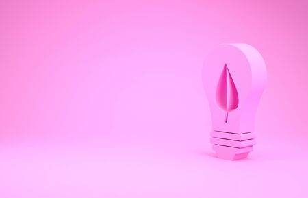 Pink Light bulb with leaf icon isolated on pink background. Eco energy concept. Alternative energy concept. Minimalism concept. 3d illustration 3D render