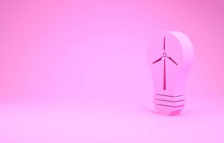 Pink Light bulb with wind turbine as idea of eco friendly source of energy icon isolated on pink background. Alternative energy concept. Minimalism concept. 3d illustration 3D render