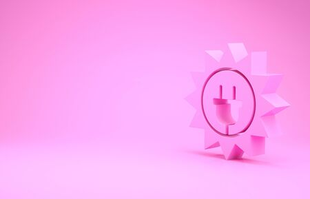 Pink Solar energy panel icon isolated on pink background. Sun and electric plug. Minimalism concept. 3d illustration 3D render