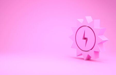 Pink Solar energy panel icon isolated on pink background. Sun with lightning symbol. Minimalism concept. 3d illustration 3D render