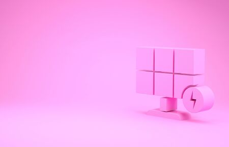 Pink Solar energy panel icon isolated on pink background. Minimalism concept. 3d illustration 3D render Stok Fotoğraf