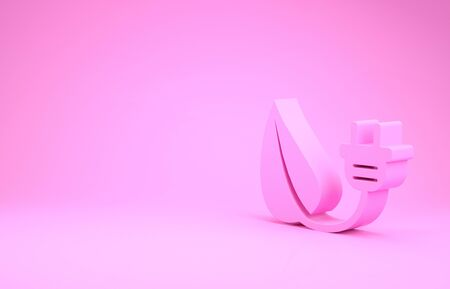 Pink Electric saving plug in leaf icon isolated on pink background. Save energy electricity icon. Environmental protection icon. Bio energy. Minimalism concept. 3d illustration 3D render Stok Fotoğraf