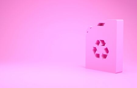 Pink Eco fuel canister icon isolated on pink background. Eco bio and barrel. Green environment and recycle. Minimalism concept. 3d illustration 3D render Reklamní fotografie