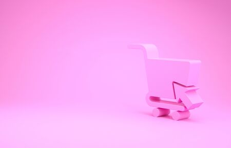 Pink Shopping cart with cursor icon isolated on pink background. Online buying concept. Delivery service sign. Supermarket basket symbol. Minimalism concept. 3d illustration 3D render